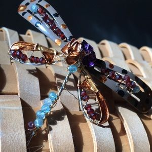 One of a kind, artisan made dragonfly pendant.